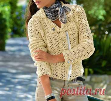 Стильная куртка-косуха, связанная крючком (с описанием вязания) | Идеи рукоделия | Яндекс Дзен