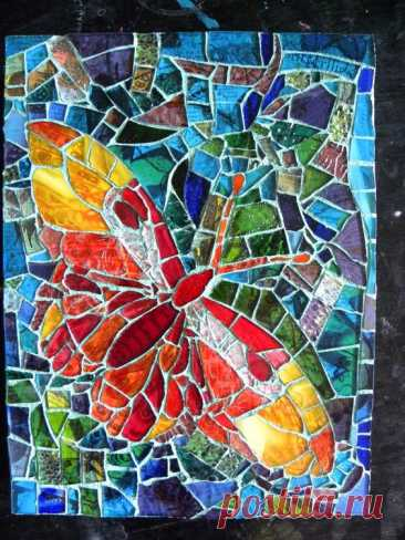 Mixed media piece – stained glass mosaic on a collaged wooden substrate. (9″ X 12″)