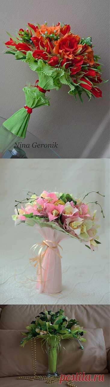 Los ramos-barcas de los bombones y como hacer el armazón de la barca la clase maestra de Nina Geronik.