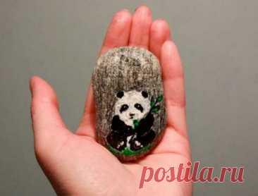 Роспись камней своими руками: панда