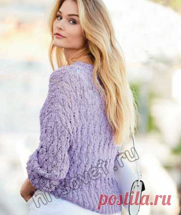 Летний ажурный пуловер лавандового цвета - Хитсовет