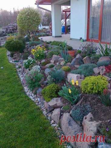 Камни и цветы - красивое сочетание