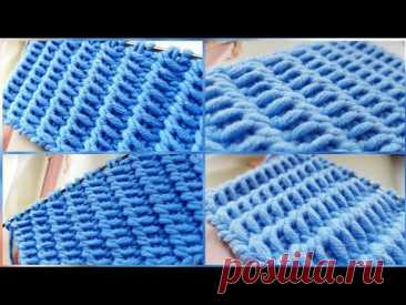 Бомбический узор с эффектом плетения ротанг 📣  knitting pattern.