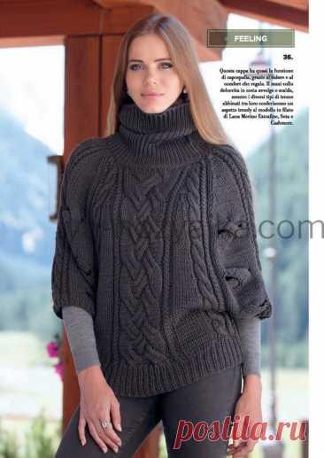 Пуловер-пончо спицами для женщин. Схемы вязания пончо спицами с описанием