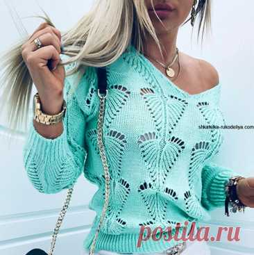 Тренд осени. Узор самого популярного пуловера для вас. Ещё больше схем и интересных моделей на сайте красивое-вязание.рф