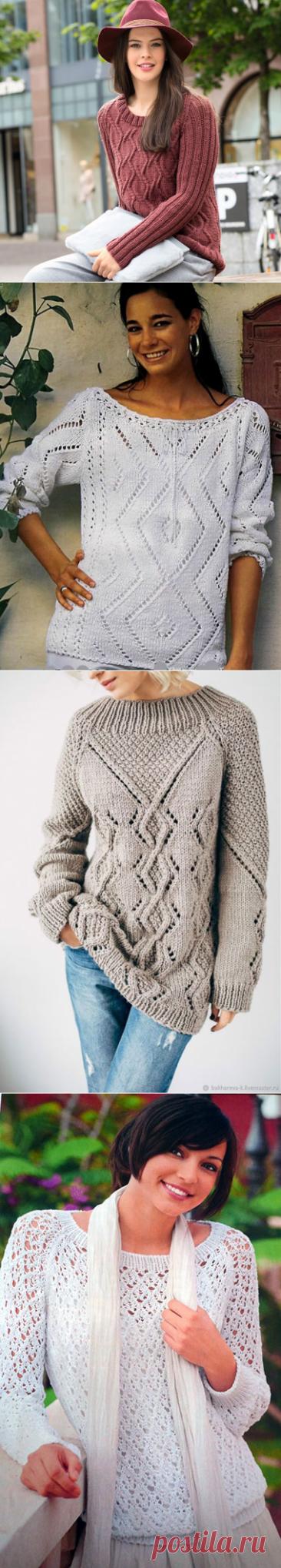 Джемпера и пуловеры реглан с ромбами спицами – 6 моделей со схемами и описанием — Пошивчик одежды