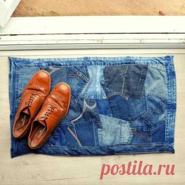 Идея: коврик из карманов старых джинсов