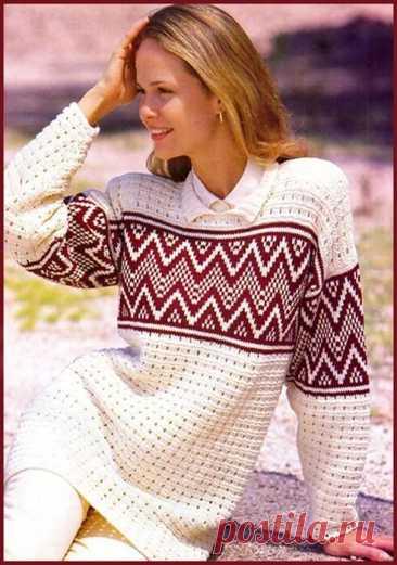 Пуловер с жаккардовой полосой - Вязание спицами для женщин - Каталог файлов - Вязание для детей