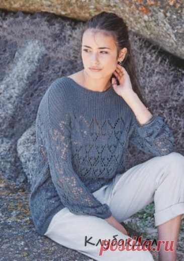 Ажурный пуловер с кокеткой