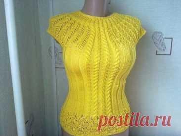 Желтая кофточка спицами