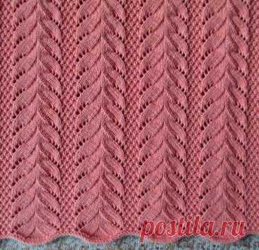 Вязание красивого узора спицами Узор, состоящий из сходящихся друг к другу кос, связан спицами. Таким узором хорошо вязать различные пуловеры и джемперы. Узор имеет вертикальное направление.