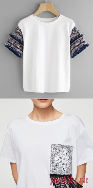 Интересные детали для простых футболок. Идеи для творчества   Марусино рукоделие   Пульс Mail.ru
