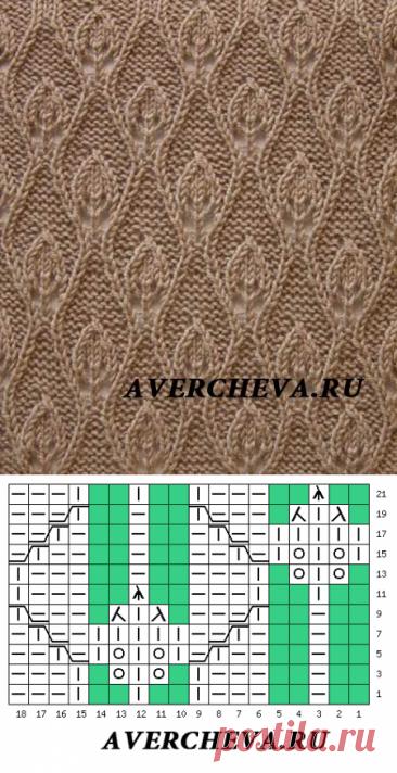 Узор 886 «Листики»| каталог вязаных спицами узоров