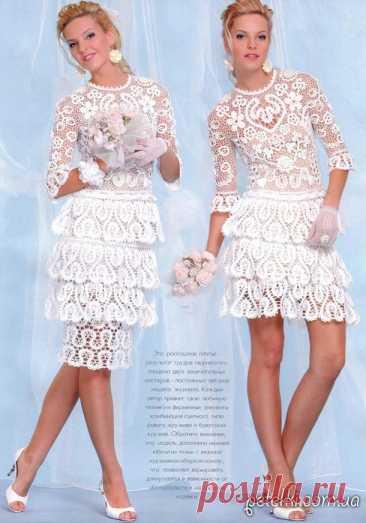 Свадебное платье крючком СЕРДЕЧНОЕ. Описание, схемы Неимоверно красивое вязаное свадебное платье крючком. Выполнено в сочетании двух техник - брюггского и ирландского кружева. Мотивы в виде сердечка подтверждают принадлежность этого платья самому важному дню в жизни каждой девушки. Платье получается очень нежным и безумно красивым. Если имеете
