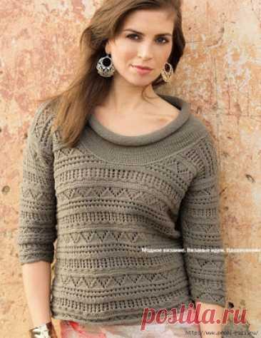 АЖУРНЫЙ ПУЛОВЕР С ШИРОКИМ ВОРОТНИКОМ | Вязание для женщин спицами. Схемы вязания спицами Пуловер из пряжи, состоящей из хлопка и кашемира – она очень приятна на ощупь, а изделие хорошо садится по фигуре. | РАЗМЕРЫ 38/40 (42/44) 46 ВАМ ПОТРЕБУЕТСЯ Пряжа (80% хлопка, 12% кашемира, 8% полиамида; 175 м/ 50 г) – 300 (350) 400 г цвета хаки; спицы № 3,5 и № 4;...
