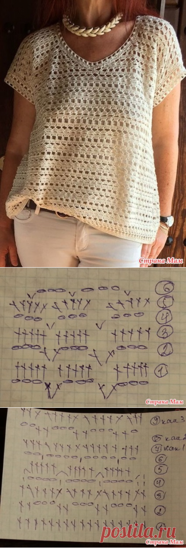 . Help to find the scheme of knitting of a top - Knitting - the Country of Mothers