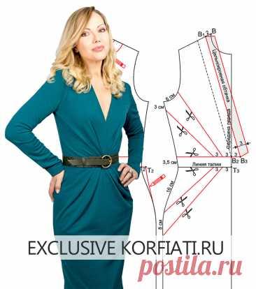 Выкройка облегающего платья от Анастасии Корфиати Выкройка облегающего платья. Изящный силуэт, подчеркнутый симметричными складками, и глубокое декольте превращают эту модель в шедевр. Сшито из трикотажа.