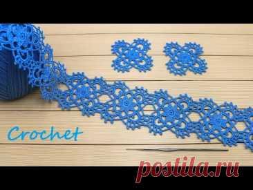 ЛЕНТОЧНОЕ КРУЖЕВО из квадратных мотивов ПРОСТОЕ вязание крючком  Easy to Crochet Tape Lace Tutorial