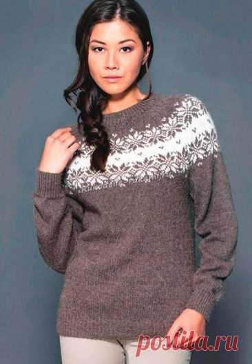 Женский пуловер с жаккардовым узором (Вязание спицами) Размеры:S (М-L) ХL; обхват груди: 87 (98-107) 115 см; общая длина: 60 (62-64) 67 см; длина рукава: 47 (4646) 45 см. Длину можно варьировать. Вам потребуется:пряжа Alpakka (100% шерсти альпака; 11…