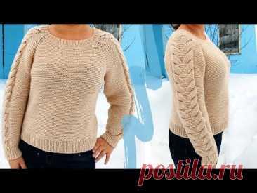 Пуловер спицами Регланом сверху с Красивым узором на рукавах - YouTube