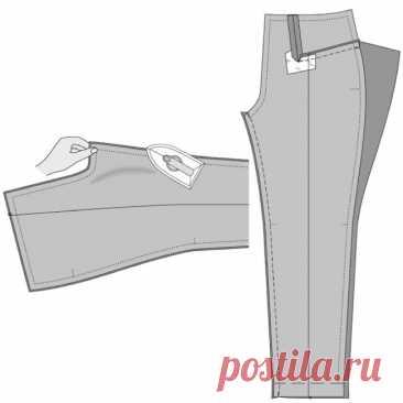 Последовательность пошива брюк. Очень подробно (Шитье и крой) Последовательность пошива брюк. Очень подробно ☝☝☝ Раскладка и раскрой выкроек брюк на ткани 1. После построения чертежа брюк, его проверяют на совпадение контрольных линий: низа, колена, шага, бед…
