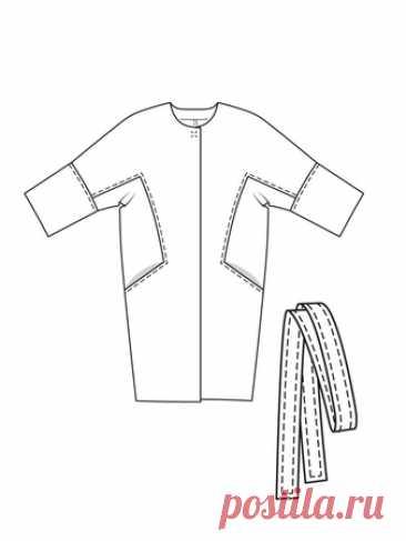 Пальто О-силуэта с цельнокроеными рукавами - выкройка № 107 из журнала 8/2017 Burda – выкройки пальто на Burdastyle.ru