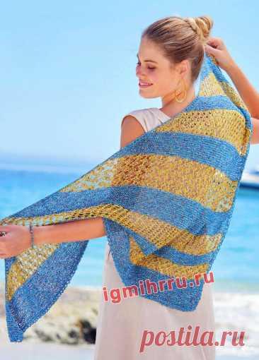 Асимметричная шаль с полосами разной ширины. Вязание спицами со схемами и описанием