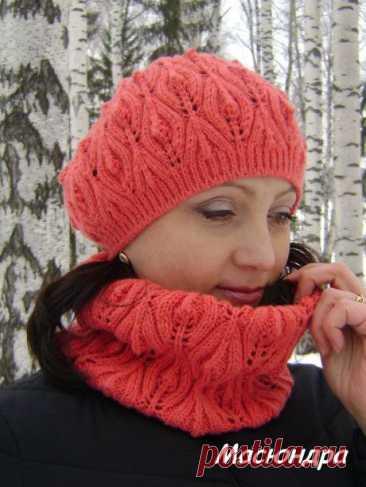 ШИКАРНЫЙ Берет с листочками связанный спицами, Вязание для женщин