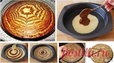 Zebra pie\u000a\u000aIngredients:\u000a\u000a- eggs of 5 pieces.\u000a- sugar of 180 g\u000a- sour cream of 200 g\u000a- butter of 100 g\u000a- flour 2 stak.\u000a- bag of a baking powder of 10 g\u000a- cocoa of 1 tablespoon.\u000a\u000aPreparation:\u000a\u000a1. Shake up eggs with sugar before formation of bubbly weight.\u000a2. Add the softened sour cream, butter, flour and a baking powder. Vymeshayte to uniformity. Density of the test has to turn out as on fritters.\u000a3. Pour a half of the test in other vessel. Add some cocoa to the rest and it is good razmeshayt...