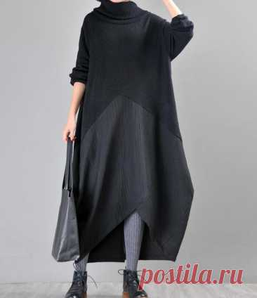 Women longsleeve Dresses Knit stitching linen dress | Etsy