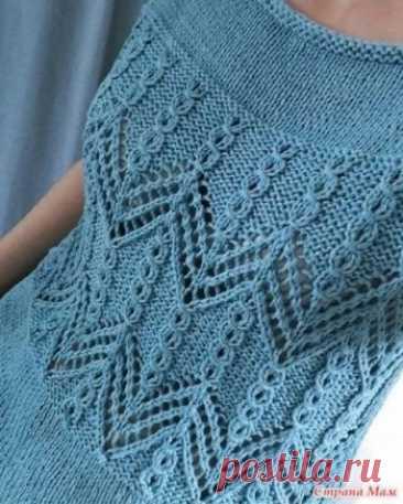 Красивый узор спицами,  Узоры для вязания спицами Предлагаю рукодельницам добавить в свою копилочку ещё один красивый узор спицами. Узор подходит для вязания топов, кофточек, кардиганов и его можно