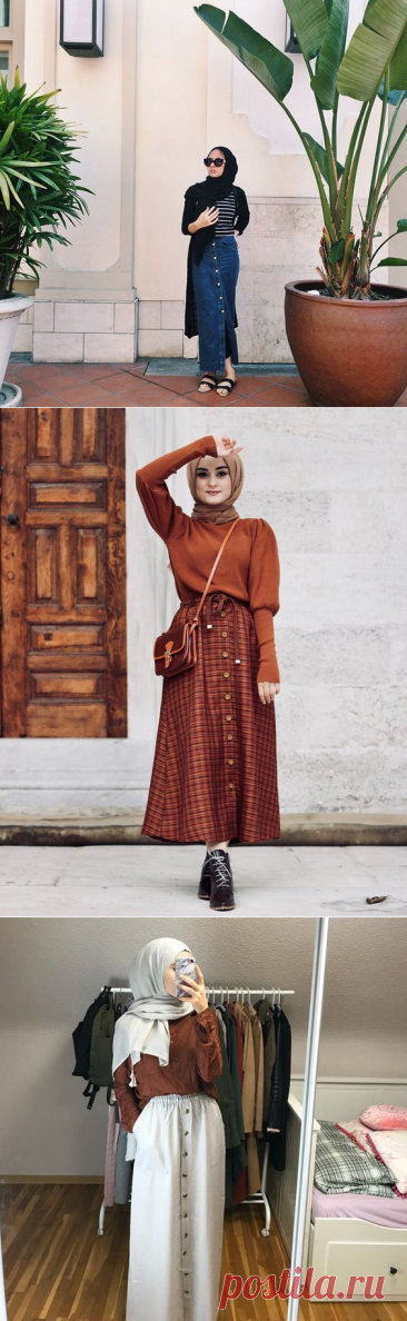 Stylish Ways To Wear Button Skirt For Hijab Outfit - Hijab-style.com