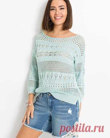 Пуловер легкой вязки идеально подойдет для прохладных летних вечеров. Данная модель отлично дополнит повседневные образы с юбками и брюками.