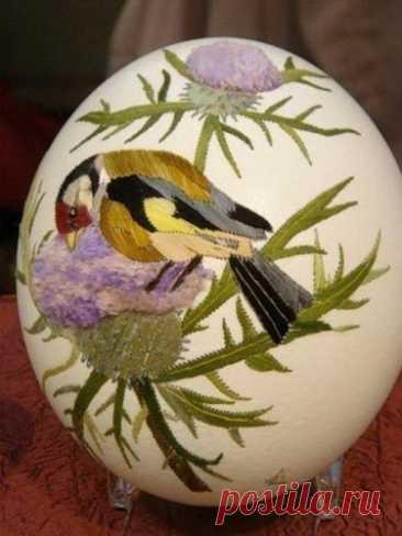 Вышивка на яйцах от Элизабет Кляйн