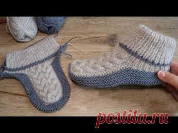 Бесшовные следки спицами с королевской косой 👑 Homemade knitted slippers 👌🏻