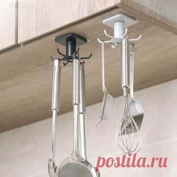 Кухонный вращающийся крючок для хранения на 360 °, настенный стеллаж для хранения без отверстий, полка, вешалка для ванной, лопатка, ложка, кухонная утварь, органайзер для посуды   АлиЭкспресс