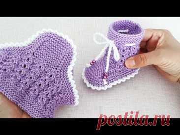 İki Şişle Bebek Patiği Yapılışı 🐣🌷🌾Very Easy Knitting Baby  Socks Booties DIY Free Pattern Design