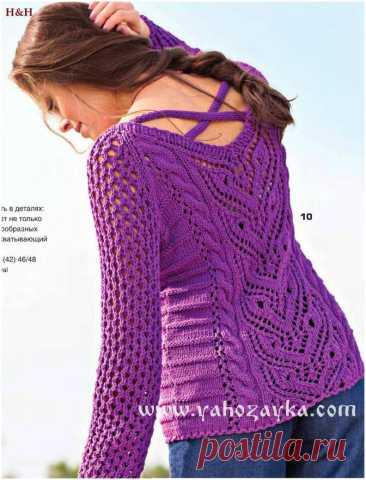 Ажурный пуловер спицами с красивым узором по центру. Пуловер с красивым узором по центру переда Ажурный пуловер спицами с красивым узором по центру. Пуловер с красивым узором по центру переда