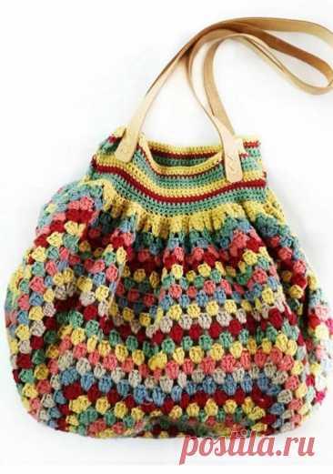 Как связать сумку из одного большого бабушкиного квадрата крючком | Непутёвые заметки про вязание | Яндекс Дзен