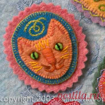 Felt Cat Pin tutorial This project is from my how-to book, Felt Wee Folk. I showed how to make the cat pin on HGTV's The Carol Duvall Show soon after the book came out in 2003. Here are the same pieces we used in …