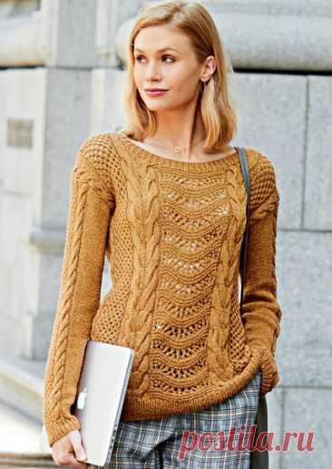 Красивый джемпер цвета корицы. Сочетание кос и сетчатых узоров. #knitting #вязание_спицами #джемпера_спицами