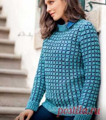 Пуловер в двухцветную рельефную клетку схема крючком » Люблю Вязать
