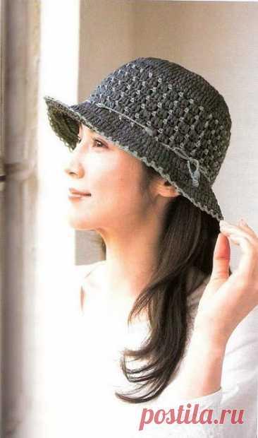 Плотная шляпка, связанная крючком