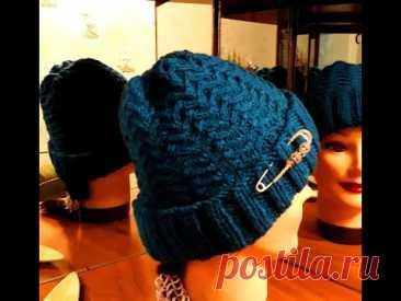 """Простой, но интересный узор """"плавники"""" для женской шапки.(caps,cap, hat)"""