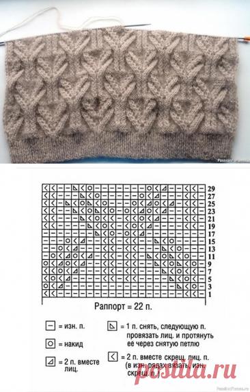 Объемный узор для джемпера или свитеров. Схема.