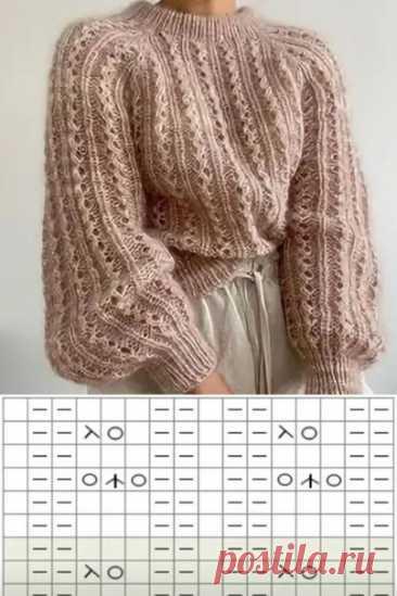 Джемпер спицами с ажурными дорожками и пышными рукавами. #вязание #вязаниеспицами #джемперспицами