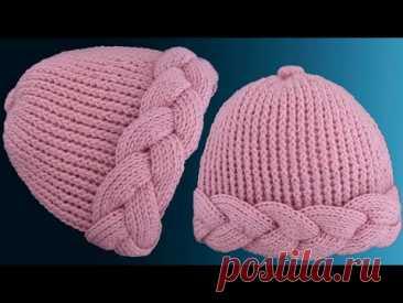 Gorro tejido a Crochet paso a paso con trenzas gruesas 3D en punto tunecino