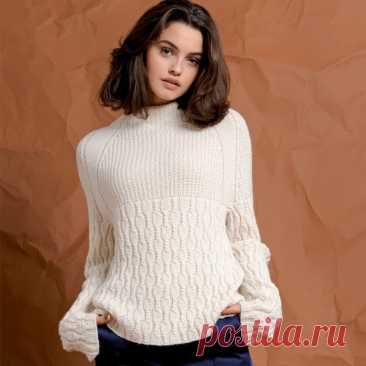 Описание вязания белого свитера реглан - Klubok.ru.com
