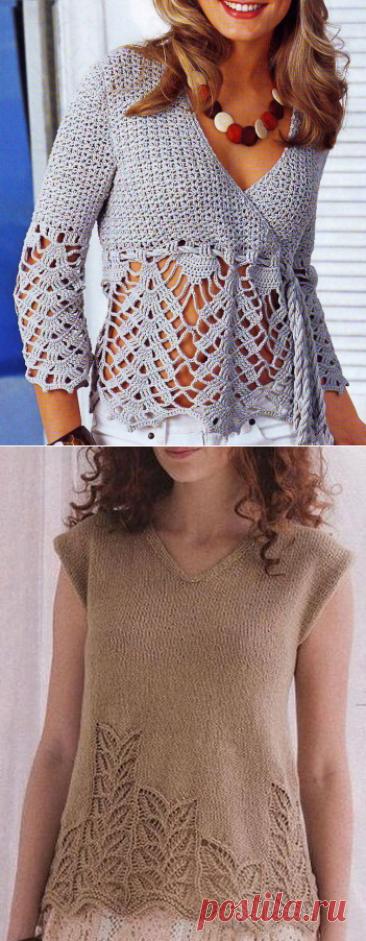 10 моделей летних кофточек спицами и крючком, схемы вязания