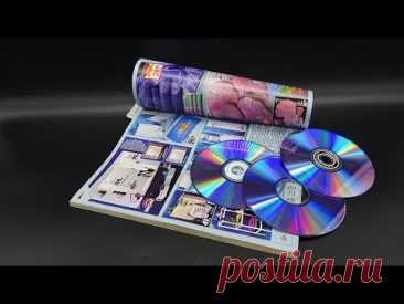 Никогда бы не подумал, что можно сделать из старого журнала и ДВД-дисков! Супер идея для дома